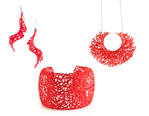 red 3d-printed jewelry