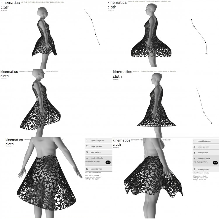 The new Kinematics Cloth application can design a huge variety of custom-fit clothing for 3D printing