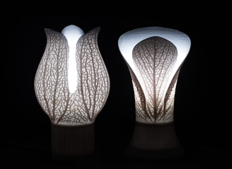 Calyx (left) and Bromeliad (right) 3D-printed lamps