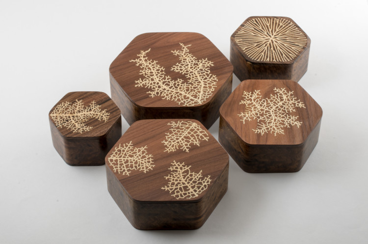 generative wood inlay boxes by nervous system