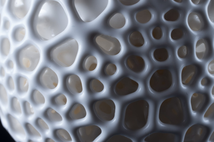 the surface of our 3D-printed porcelain cup after glazing