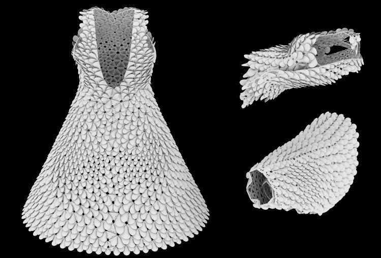 Kinematics Petals Dress 2 pre-production renderings showing the design and the computationally folded parts for printing