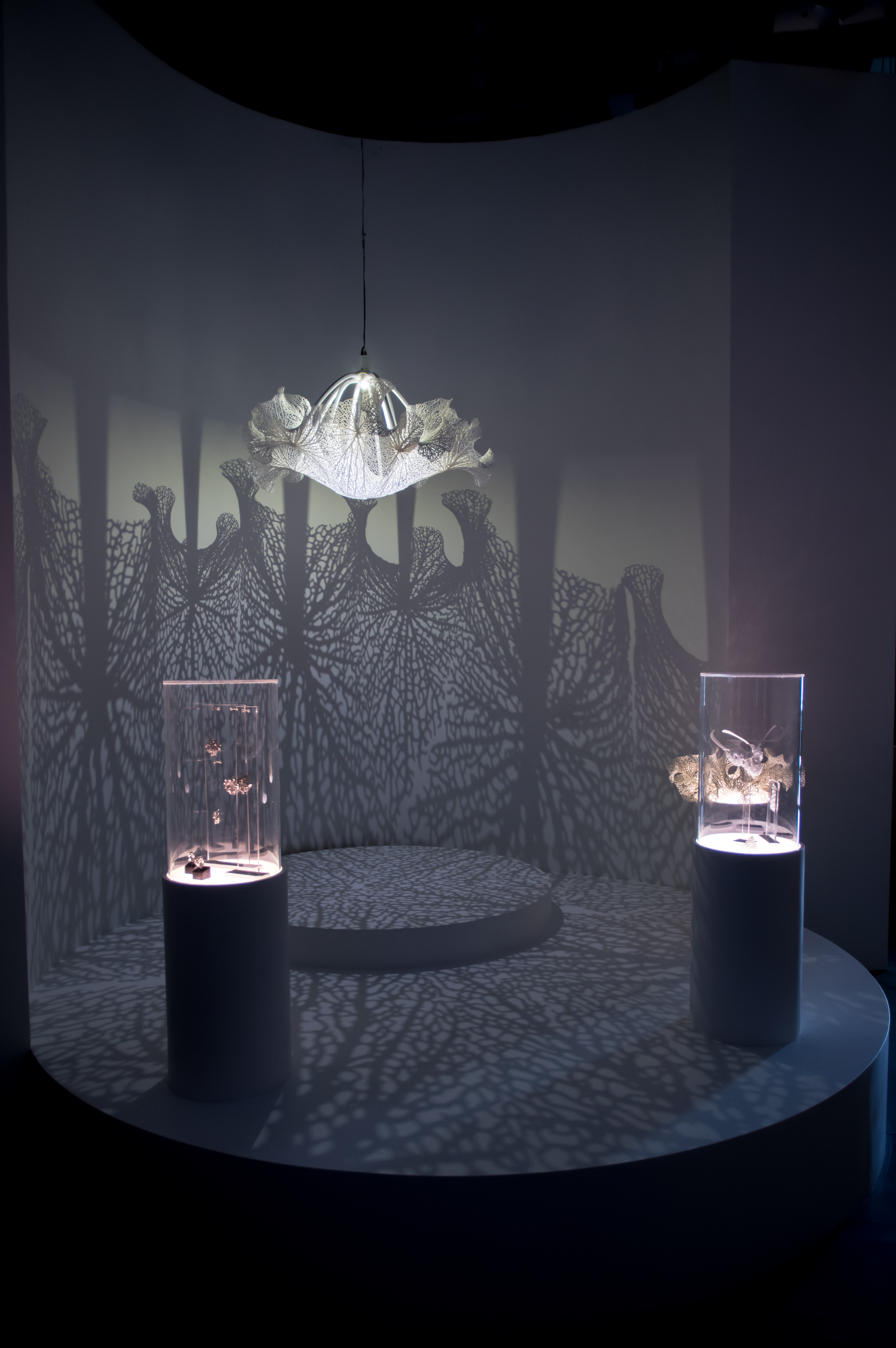 Floraform chandelier at world expo 2017 in astana kazakhstan the exhibition also includes a selection of 3d printed jewelry pieces generated by floraform and materialized in nylon and sterling silver arubaitofo Images