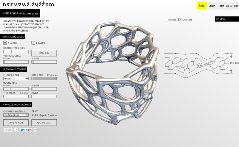Cell Cycle 3dprintable jewelry design app inspired by microscopic