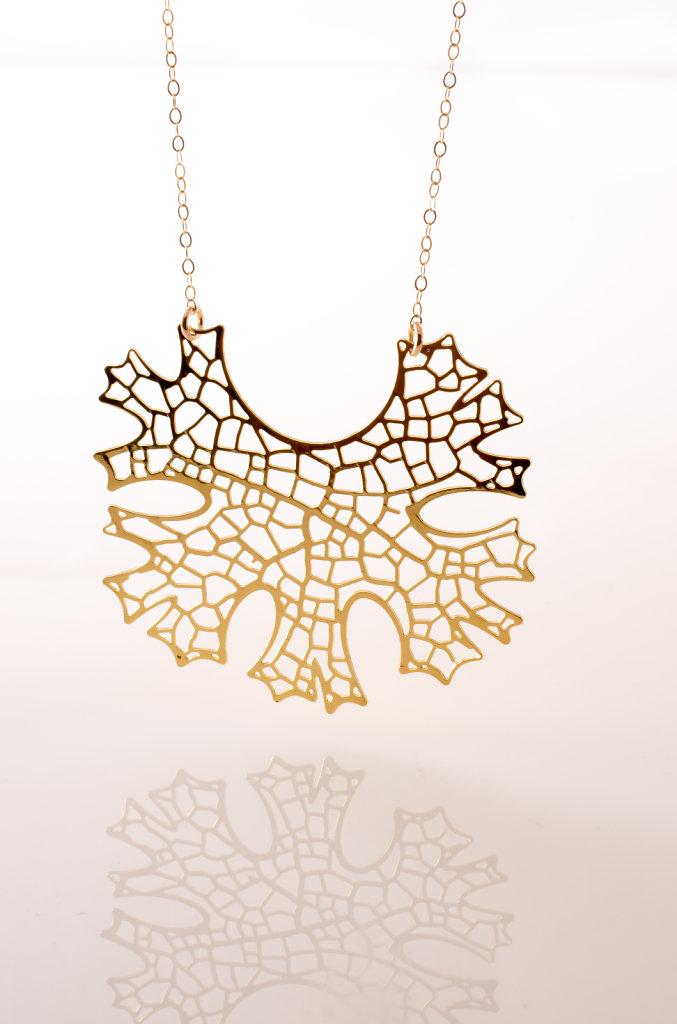 Folium Pendant (24kt gold plated stainless steel)