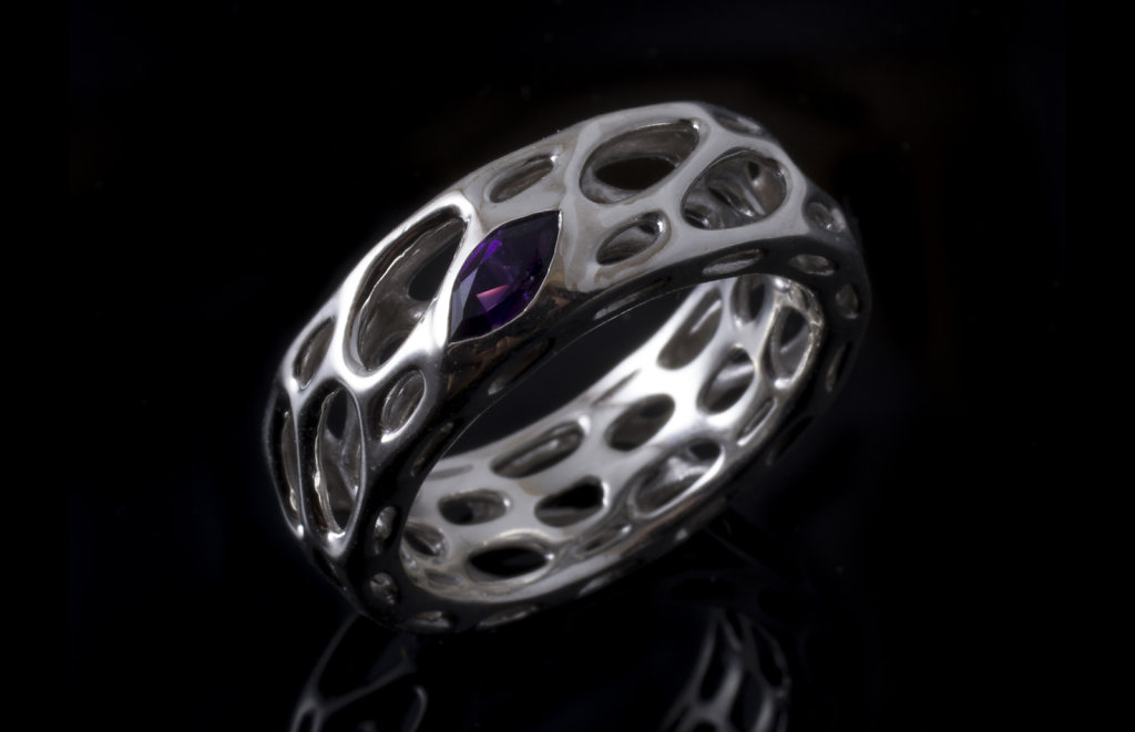 thin ring with amethyst