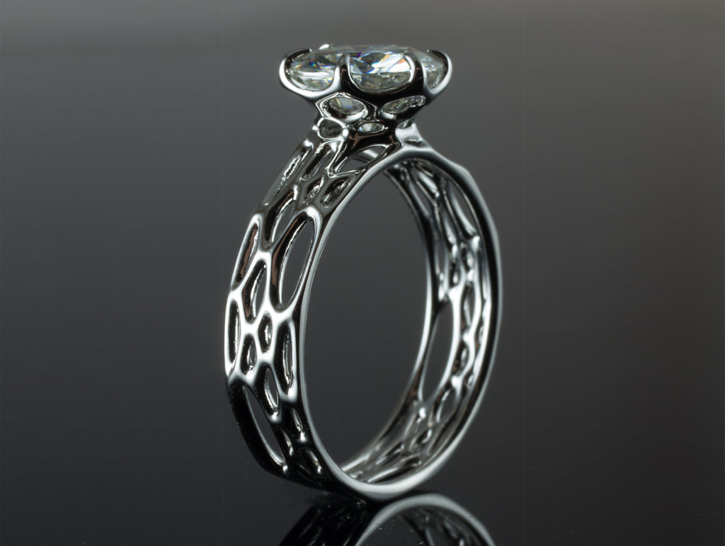 cellular solitaire engagement ring