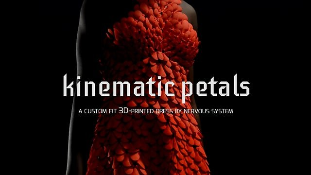 Kinematics Petals - 3D-printed dress in motion
