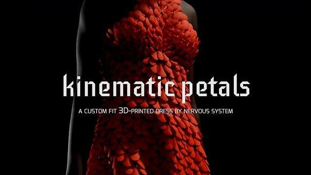 Kinematics Petals - 3D-printed dress in motion